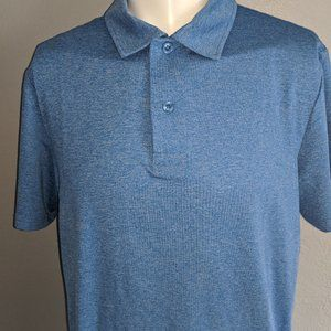 Blue Moisture Wicking Golf Polo Large Excellent